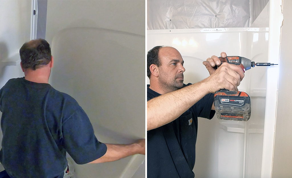 Dual image of a person installing a side shower panel and screwing a side shower panel into a stud.