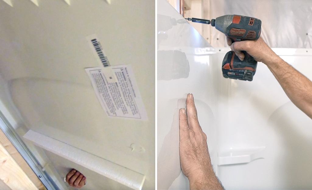 Dual image of a person setting a plumbing shower panel in place and screwing the front panel into the wall stud.