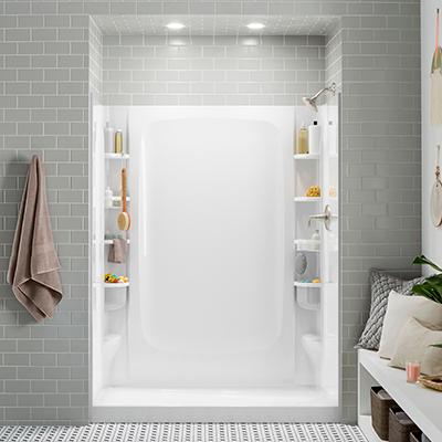 An installed shower stall.