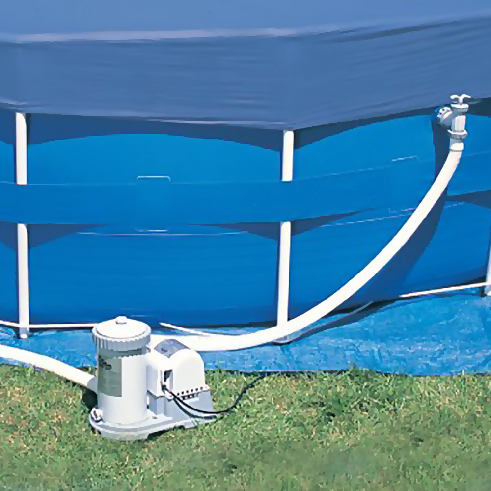 A pump is attached to an aboveground pool.