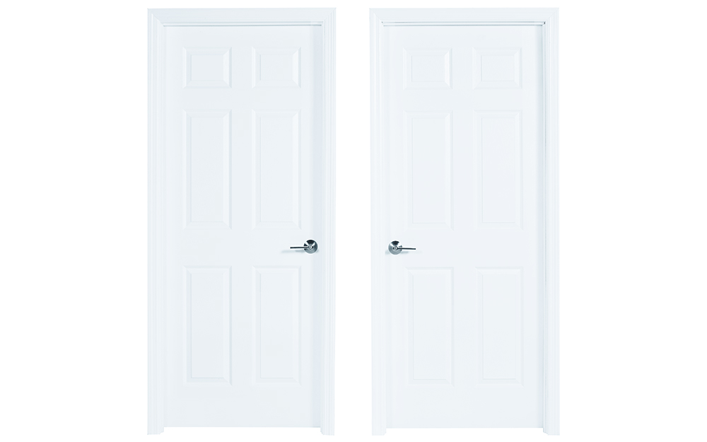 Side by side split-jamb doors that open from the left or right.
