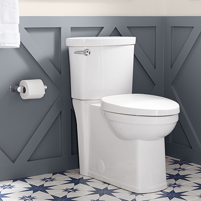 A white toilet with a toiler paper holder next to it.