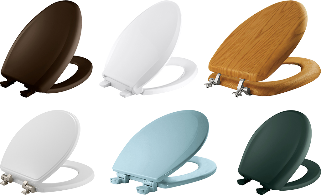 A selection of six toilet seats of different colors.