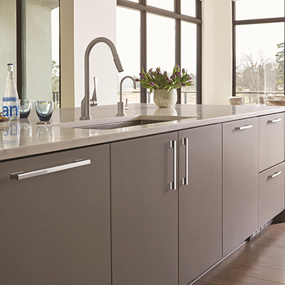 Modern gray kitchen cabinets.