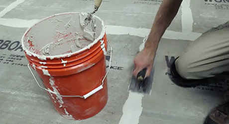 Fill joints with mortar - Installing Cement Backerboard