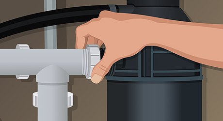 Connect outlet to p-trap - Install Garbage Disposer