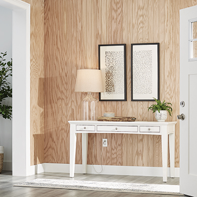 New wood-grain paneling installed in a foyer