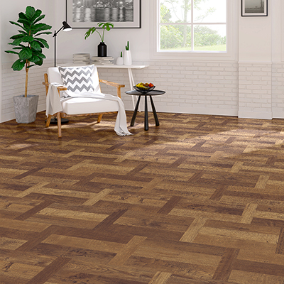 A living room with parquet tile flooring.