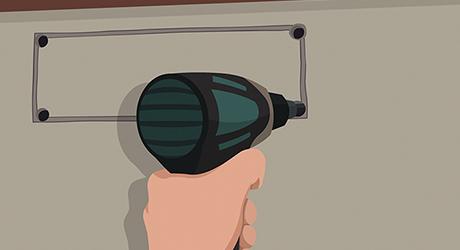 Cut inside drill locator hole - Install Range Hood