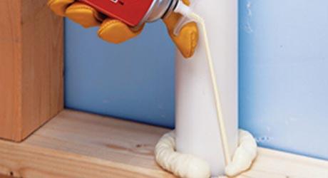 Apply expanding foam