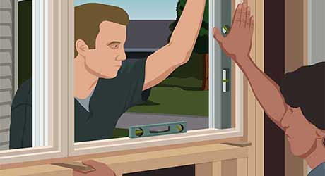 Illustration of two men holding window in place using levels and wood blocks to test-fit new window before installing.