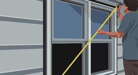 Illustration of person measuring the diagonals of an exterior window.