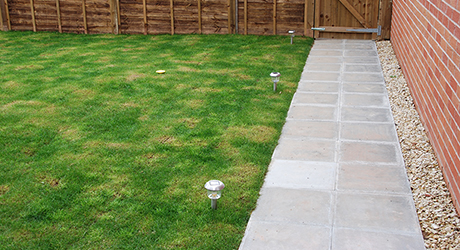 A lawn bordered by a paved patio.