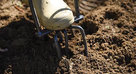 Dirt being tilled.