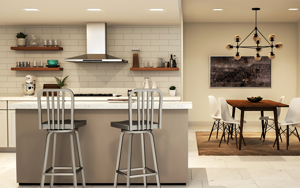 A Row Of Recessed Lighting Over Kitchen Island In Modern