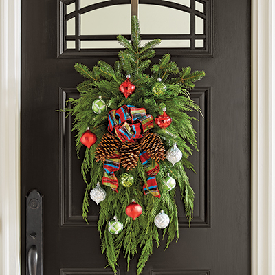 A Christmas wreath hanging on a front door.
