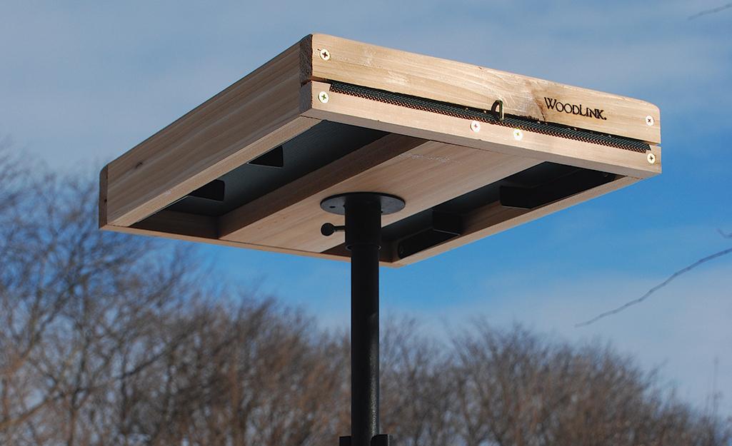 Một khay chứa thức ăn cho chim bằng gỗ được lắp trên đỉnh của giá đỡ thức ăn cho chim bằng ống.