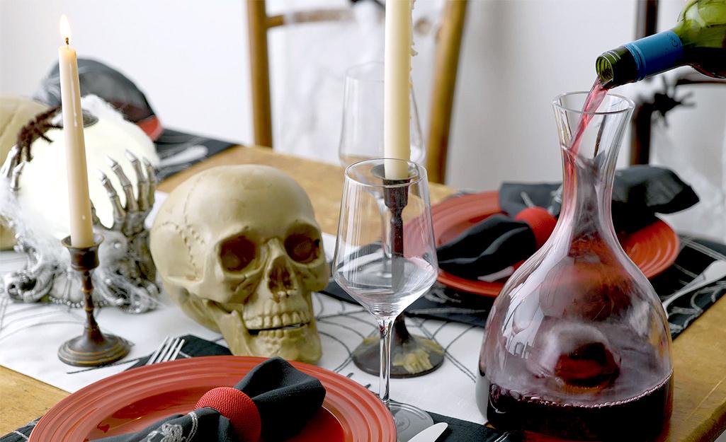 A fully set Halloween table.