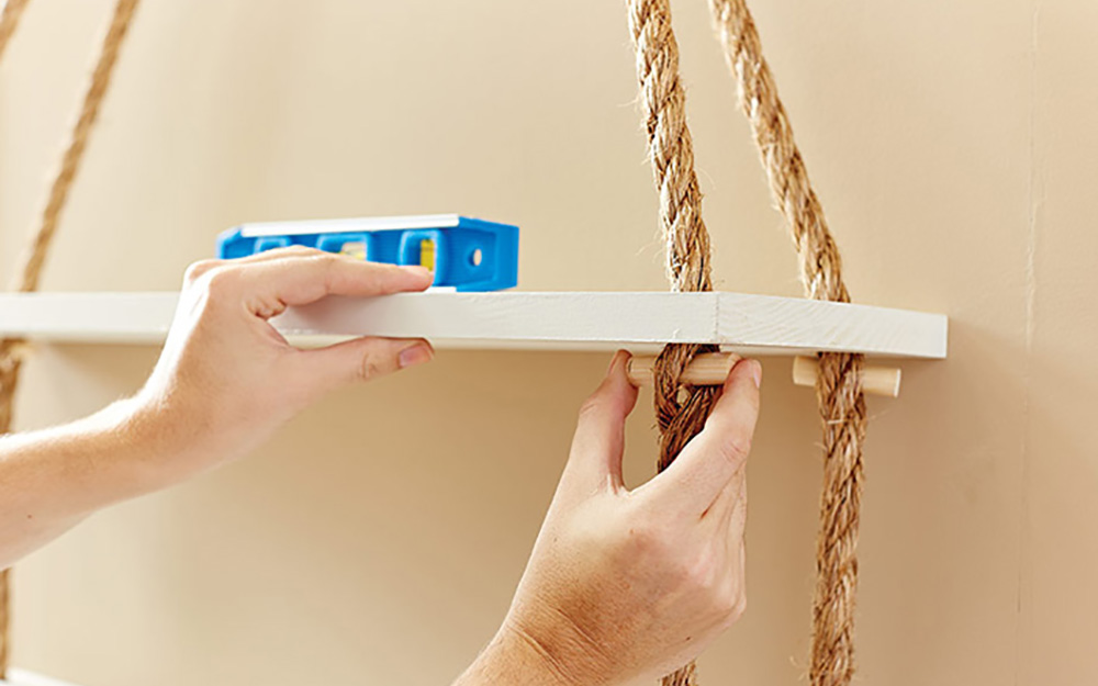 Insert dowels - Hanging Rope Shelf