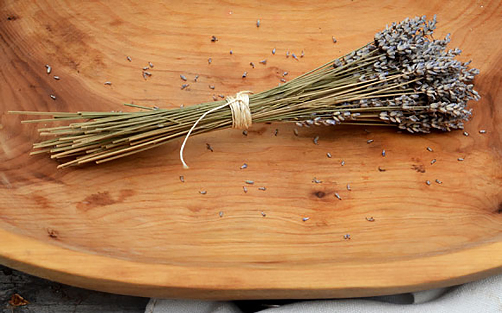 Lavender stems in a bowl
