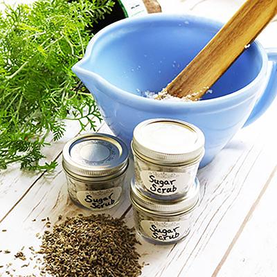 The materials needed to make a lavender sugar scrub.