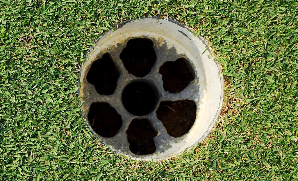 A golf cup with holes in it for on a synthetic turf putting green.