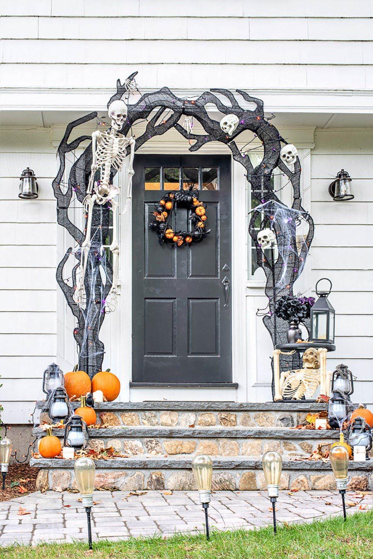 Halloween decorations and pumpkins around the front door