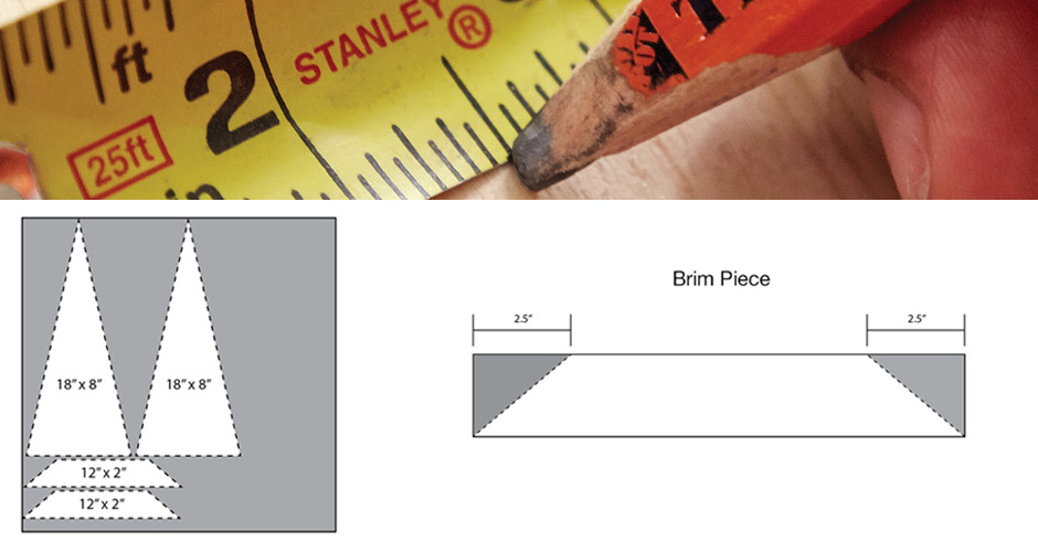 Someone marking a piece of lumber at 2 1/2 inches according to a measuring tape.