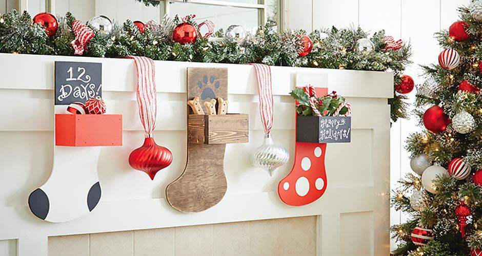 Attach hooks hang - Make Wood Stocking Door Hanger