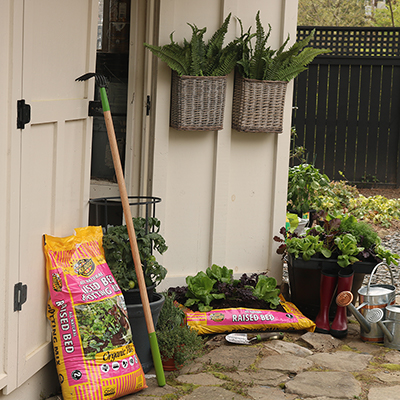 Soil bag garden and garden tools.