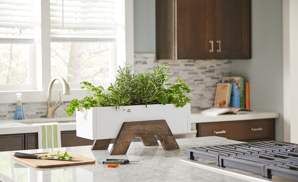 A white, DIY indoor herb planter on a wooden stand on a kitchen counter.