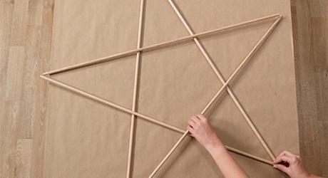 Arrange dowels - Make an Illuminated Star