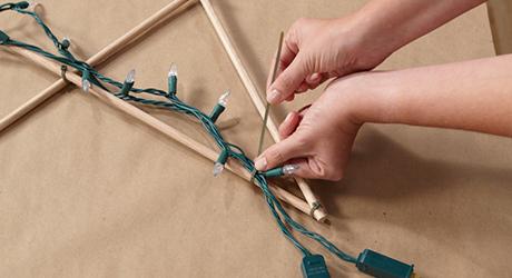 Drape string lights dowel - Make an Illuminated Star