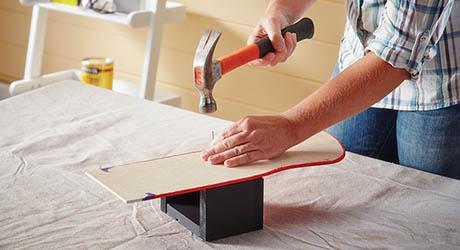 Attach storage box stocking - Make Wood Stocking Door Hanger