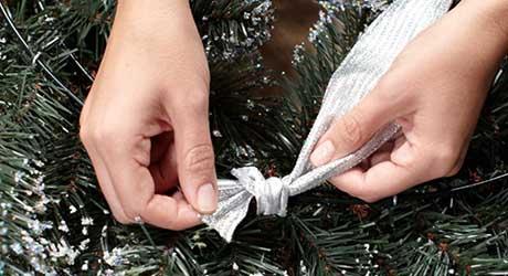 Attach ribbons - Make Wreath Chandelier