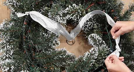 Pass ribbon through - Make Wreath Chandelier