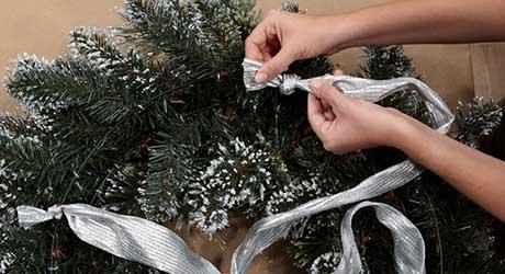 Attach ribbon wire - Make Wreath Chandelier