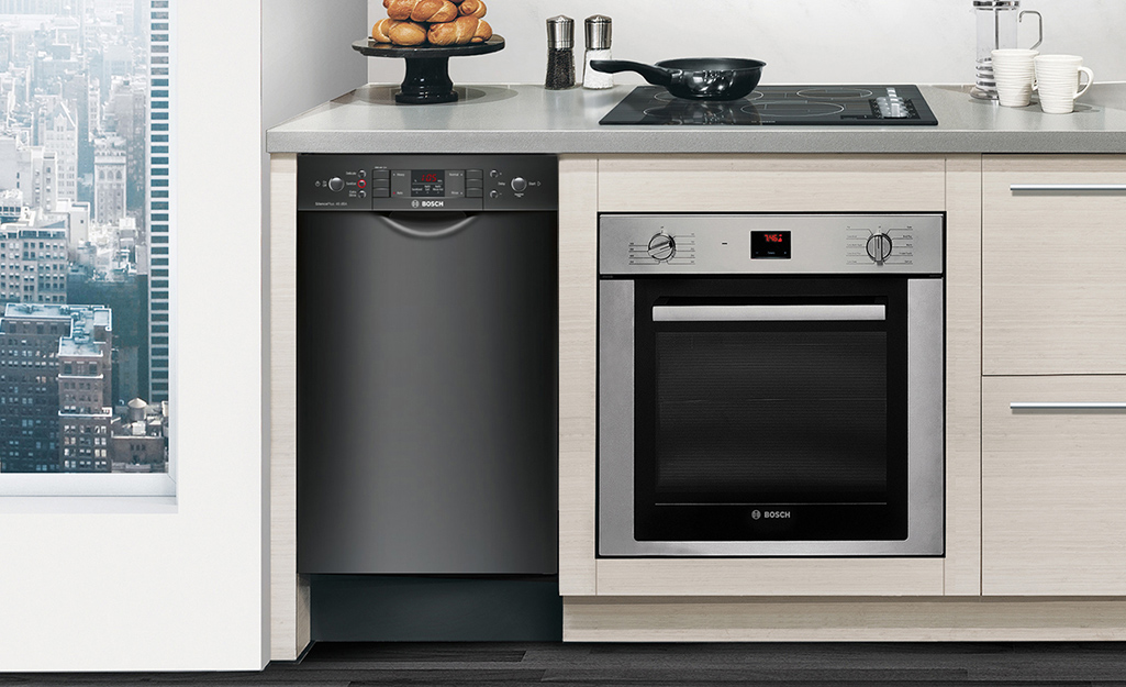 Mini dishwasher installed in a kitchen.