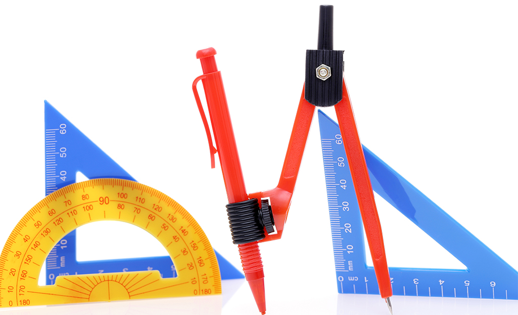 Several types of tools to measure angles on a white background.