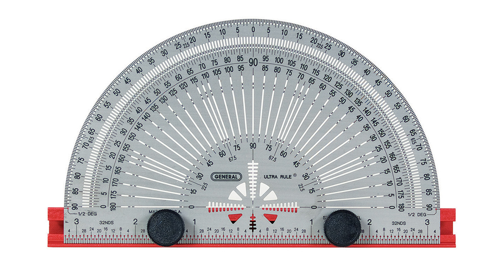 A metal protractor on a white background.