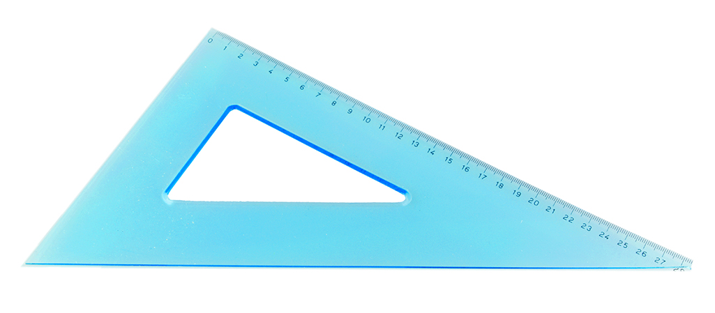 A blue set square on a white background.