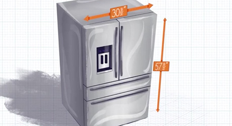 Drawing showing the length and width of a refrigerator.