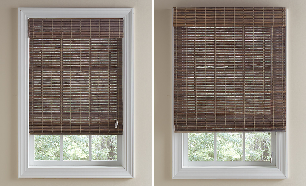 A side by side of two different mounting styles for blinds.