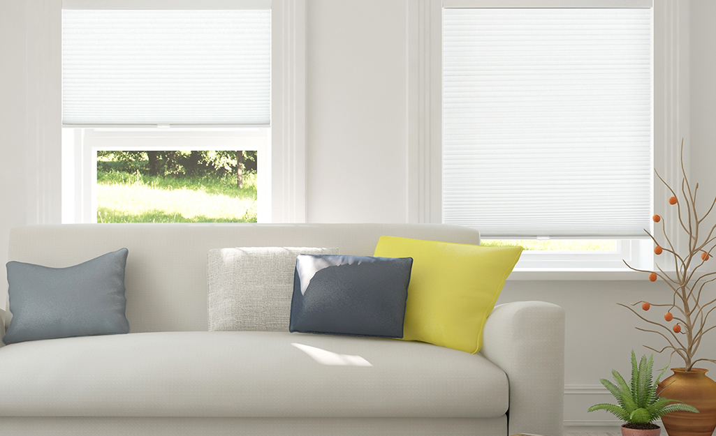 Inside mount blinds in a home.