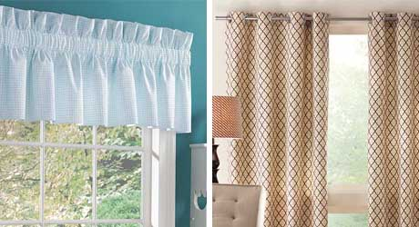 A side by side of curtains hanging above a window