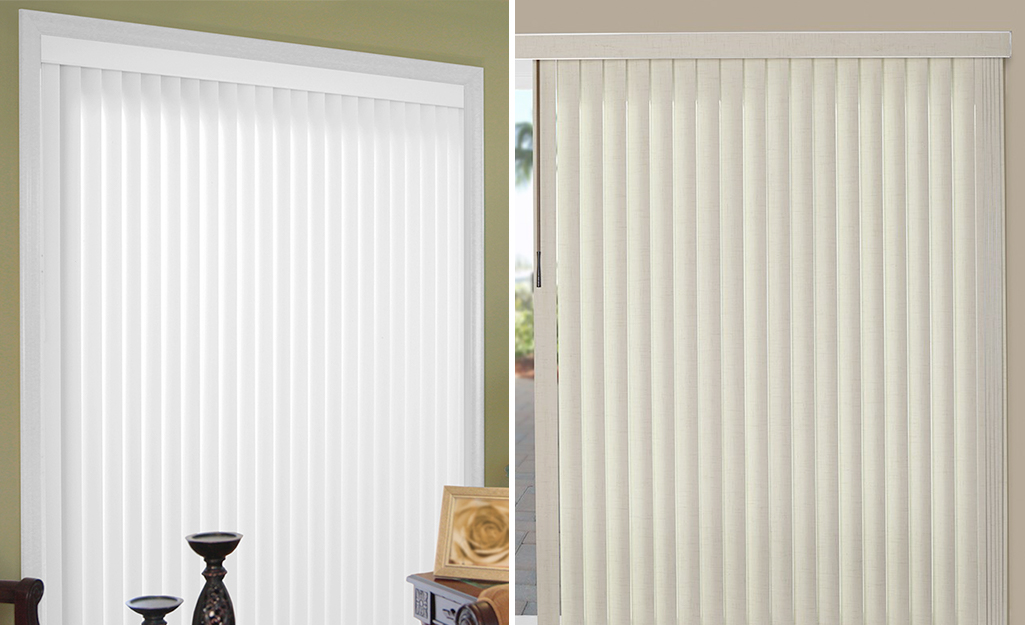 A window with inside mount vertical blinds on the left and a window with outside mount vertical blinds on the right.