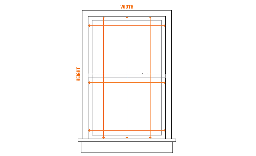 A diagram of a window that shows where to measure the height and width for inside mount vertical blinds.