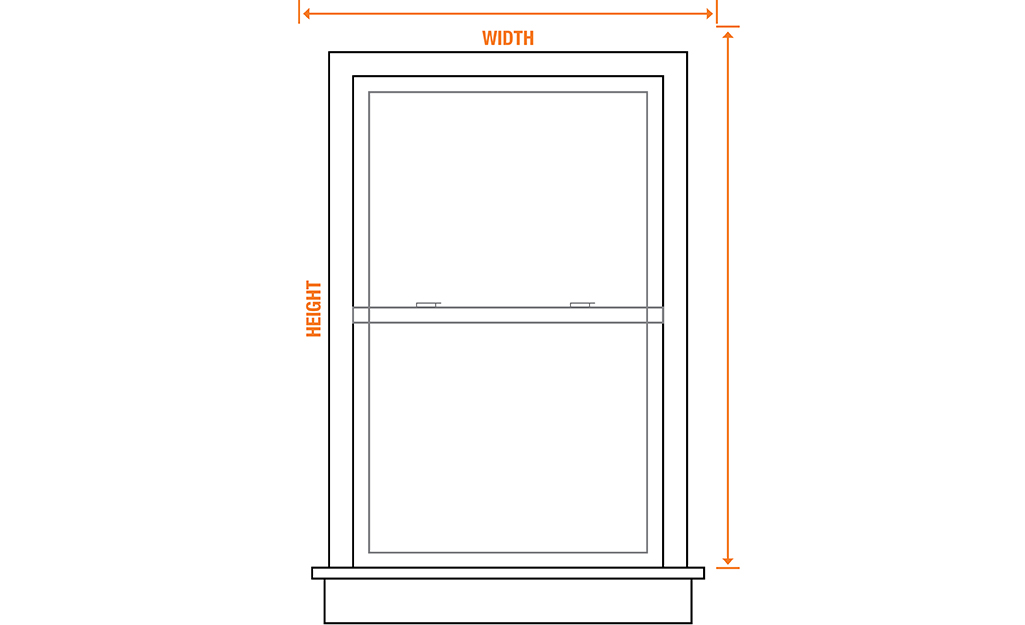 A diagram of a window that shows where to measure the height and width for outside mount vertical blinds.