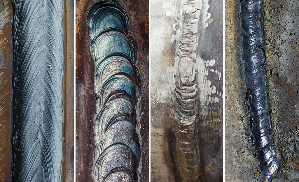 Examples of different MIG weld beads.