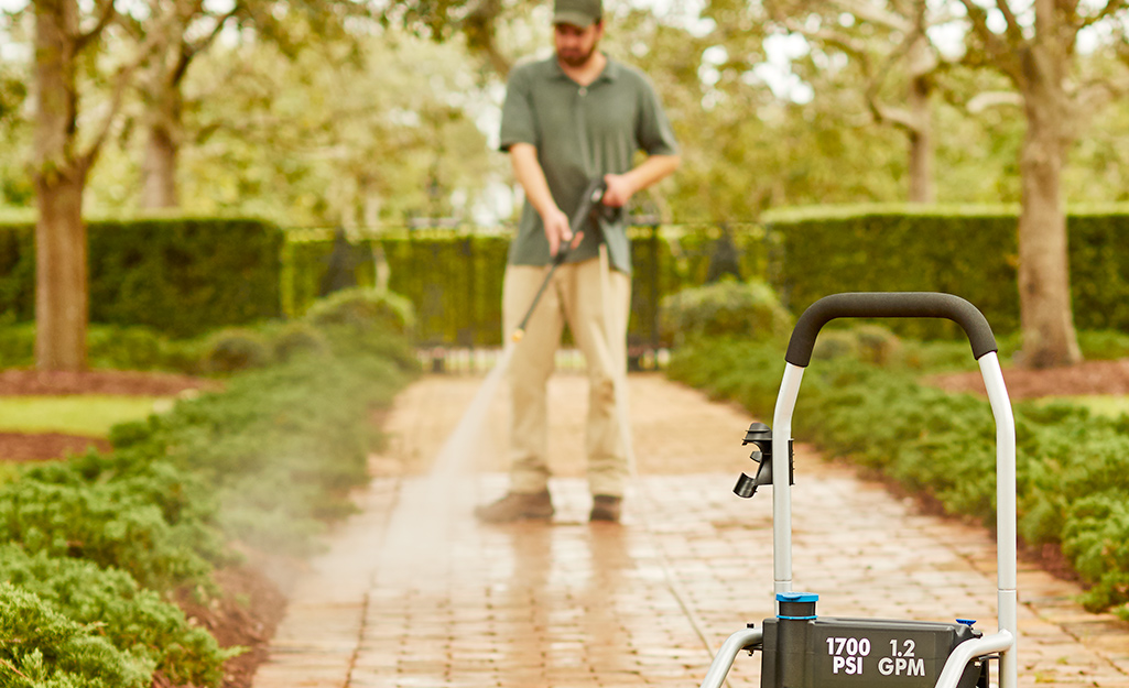 Man pressure washing a walkway lined with shrubs and mulch.